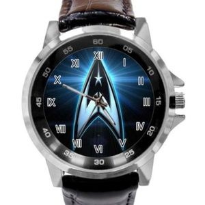Watch Men Star Trek Genuine Black Leather Strap
